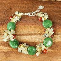 Cultured pearl and prehnite beaded bracelet, 'Peony Romance' - Pearl and Carnelian Beaded Bracelet