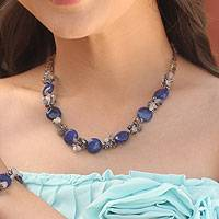 Cultured pearl and quartz beaded necklace, 'Blue Peonies' - Beaded Quartz and Agate Necklace
