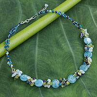 Quartz and aquamarine beaded necklace, 'Light Blue Peonies'