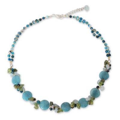 Artisan Crafted Beaded Aquamarine and Agate Necklace