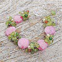 Cultured pearl and peridot beaded bracelet, 'Peony Romance' - Beaded Quartz Multigem Bracelet
