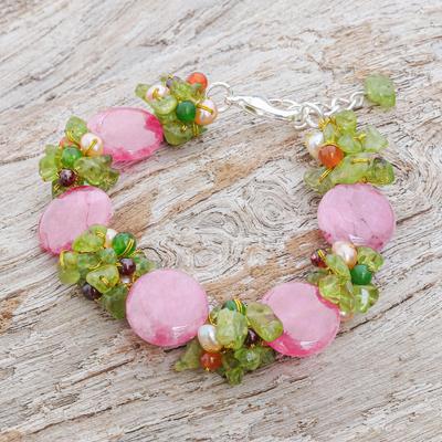 Cultured pearl and peridot beaded bracelet, 'Peony Romance' - Beaded Quartz Multigem Bracelet