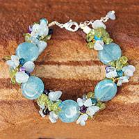 Aquamarine and peridot beaded bracelet, 'Peony Romance' - Beaded Agate and Quartz Bracelet