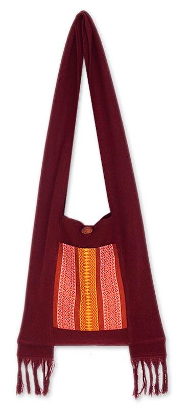 Novica Cotton sling bag, Chiang Mai Mosaic - Cotton Sling Bag from Thailand