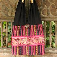 Cotton blend shoulder bag, 'Elephant Salute' - Handmade Cotton Striped Shoulder Bag