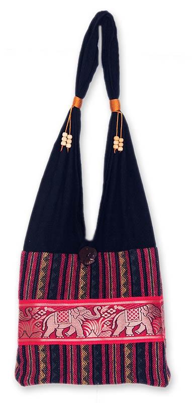 Cotton blend shoulder bag, 'Elephant Salute' - Handmade Cotton Striped Shoulder Bag