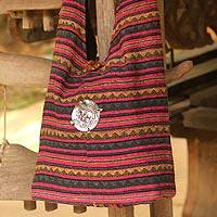 Cotton shoulder bag, 'Antique North' - Handmade Striped Cotton Shoulder Bag
