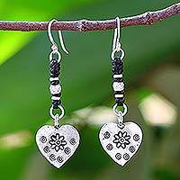 Silver heart earrings, 'Tribal Hearts'