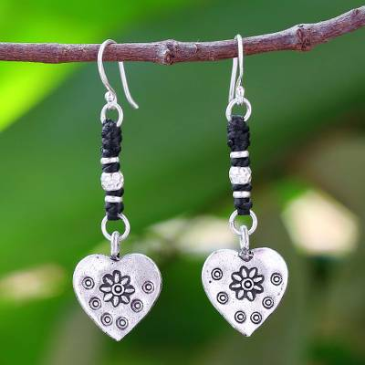 Silver heart earrings, 'Tribal Hearts' - Handcrafted Silver Heart Earrings