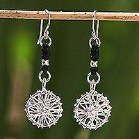 Silver dangle earrings, 'Tribal Web' - Hill Tribe Silver Dangle Earrings