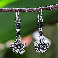 Silver flower earrings, 'Tribal Blooms' - Fair Trade Hill Tribe Silver Dangle Earrings