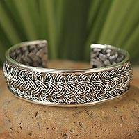 Sterling silver cuff bracelet, 'Hill Tribe Paths' - Hill Tribe Sterling Silver Cuff Bracelet