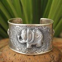 Sterling silver cuff bracelet, 'Hill Tribe Elephants' - Handcrafted Sterling Silver Animal Themed Cuff Bracelet