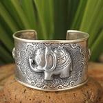 Handmade Sterling Silver Cuff Bracelet, 'Hill Tribe Elephants'