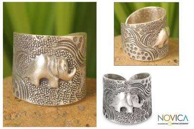 Sterling silver wrap ring, 'King of the Forest' - Sterling Silver Elephant Wrap Ring
