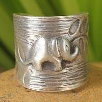 Sterling silver wrap ring, 'Thai Forest Elephant' - Thick Accented Elephant Wrap Sterling Cuff