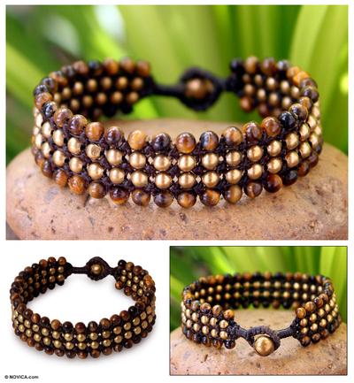 Tiger's eye wristband bracelet, 'Golden Dawn' - Tiger's Eye and Brass Wristband Bracelet