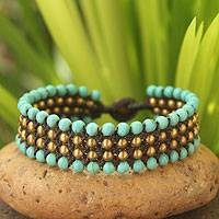 Beaded wristband bracelet, 'Placid Sky'