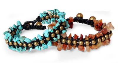Hand Made Beaded Gemstone Bracelets (Pair)