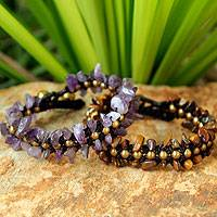 Amethyst and tiger's eye wristband bracelets, 'Mystical Skies' (pair) - Amethyst and Tiger's Eye Beaded Bracelets (Pair)