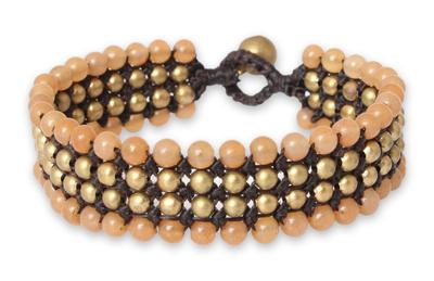 Beaded wristband bracelet, 'Golden Sunrise' - Unique Brass Beaded Quartz Bracelet
