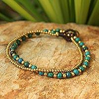 Serpentine beaded bracelet, 'Dazzling Green Harmony' - Serpentine and Brass Bracelet