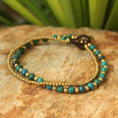 Novica Brass beaded bracelet, Family - Handcrafted Brass Beaded Bracelet