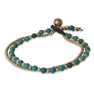 Serpentine beaded bracelet, 'Dazzling Green Harmony' - Serpentine and Brass Beaded Bracelet