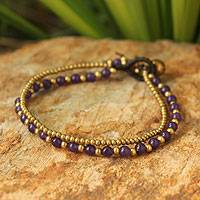 Amethyst beaded bracelet, 'Dazzling Harmony' - Brass Beads and Amethyst Gem Bracelet from Thailand