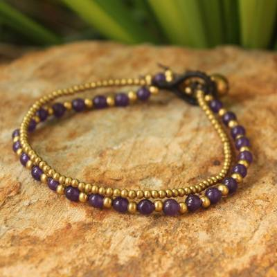 Amethyst beaded bracelet, 'Dazzling Harmony' - Amethyst and Brass Beaded Bracelet