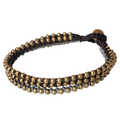 Beaded bracelet, 'Friend' - Brass Beaded Wristband Bracelet