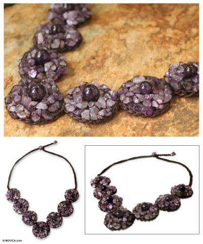 Amethyst beaded necklace, 'Exultant Lilac' - Artisan Crafted Beaded Amethyst Necklace