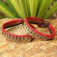 Beaded wristband bracelets, 'Cinnamon Coins' (pair) - Hand Crocheted Coin Wristbands