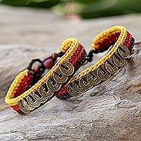 Beaded wristband bracelets, 'Sunshine Coins' (pair) - Beaded Brass Coin Bracelets (Pair)