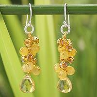 Citrine cluster earrings, 'Golden Glam' - Citrine and Quartz Dangle Earrings