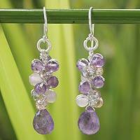Amethyst cluster earrings, 'Purple Pink Glam' - Amethyst and Quartz Beaded Earrings