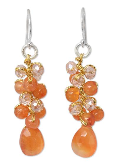Carnelian cluster earrings, 'Orange Glam' - Carnelian Beaded Earrings