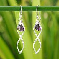 Amethyst dangle earrings, 'Whirlwind' - Sterling Silver and Amethyst Earrings