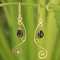 Gold vermeil garnet chandelier earrings, 'Scarlet Jungle' - Gold vermeil garnet chandelier earrings