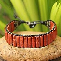 Jasper and smoky quartz wristband bracelet, 'Scarlet Earth' - Unique Jasper and Leather Wristband from Thailand