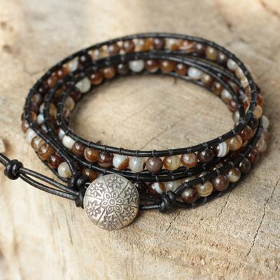 Agate wrap bracelet, 'Forest Flower' - Agate wrap bracelet