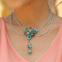 Amethyst and amazonite choker, 'Sweet Serenade' - Hand Made Beaded Turquoise Colored Necklace