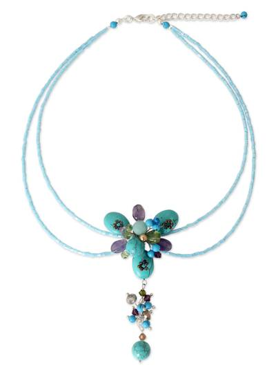 Hand Made Beaded Turquoise Colored Necklace
