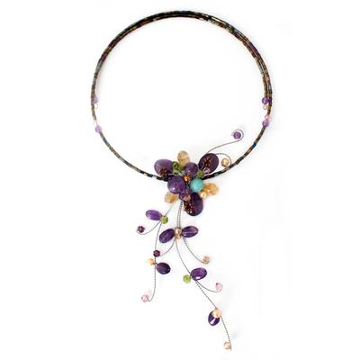 Hand Made Floral Multigem Necklace
