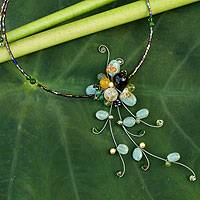Aventurine and quartz choker, 'Beautiful Floristry'