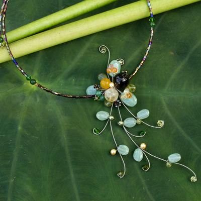 Aventurine and quartz choker, 'Beautiful Floristry' - Aventurine Beaded Necklace