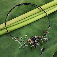 Smoky quartz choker, 'Fantasy in Flowers' - Thai Floral Smoky Quartz Choker