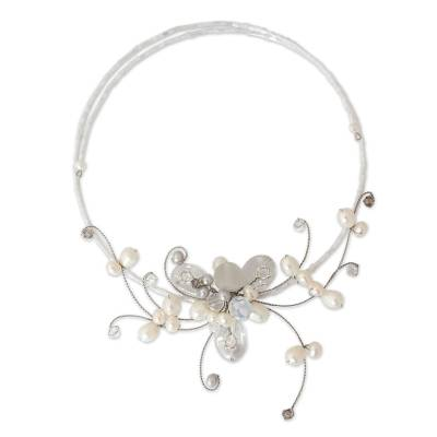 Cultured pearl and quartz choker, 'Fantasy in Flowers' - Artisan Crafted Pearl Floral Choker