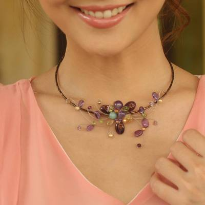Amethyst and peridot choker, 'Fantasy in Flowers' - Floral Amethyst Beaded Necklace