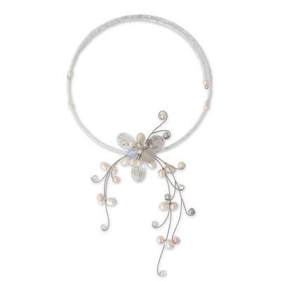 Cultured pearl and quartz choker